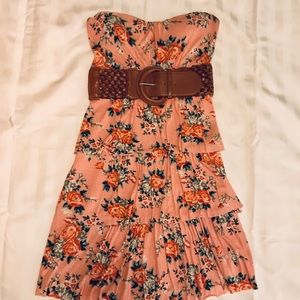 Rue 21 strapless floral dress with belt